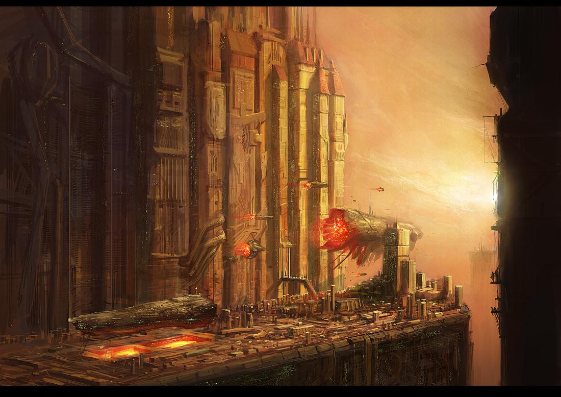 redcastle. Ships leaving docks by JimHatama