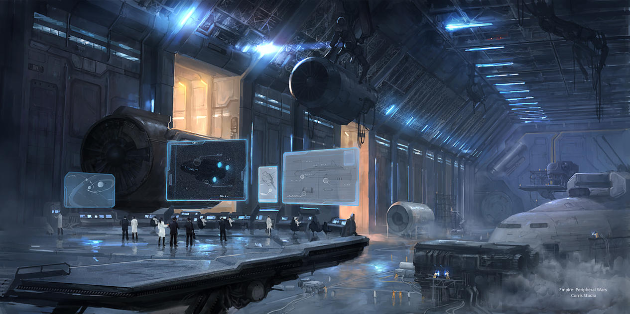 ship research hangar by JimHatama