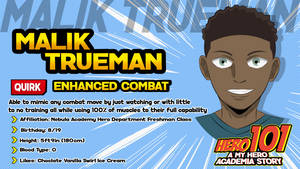 Hero 101: Malik Trueman Character Card by CarnivalRanger