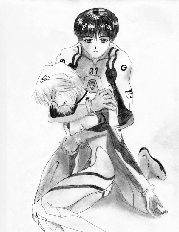 Shinji holding Rei by Borsten