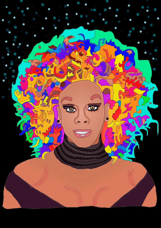Rupaul rainbow hair