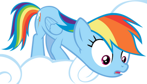 Rainbow Dash Looking Down From A Cloud Vector by Kevinerino