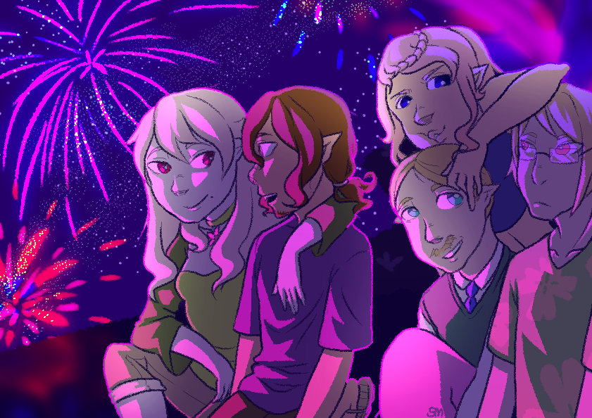Fireworks with fish friends by SongMina