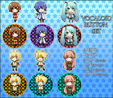 Vocaloid buttons by betrayal-and-wisdom