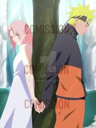 Comission Naruto and Sakura by lenacringe