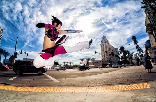 Juri Han from Street Fighter 2 Jump Kick!