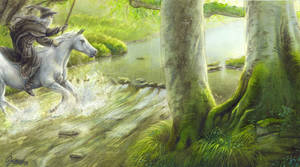 Gandalf crosses the Sarn Ford by alarie-tano