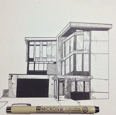 Perepective drawing challenge 1 modern house by Drawing modern houses