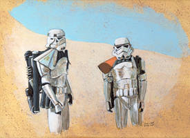 Stormtroopers on Tattooine by antonvandort
