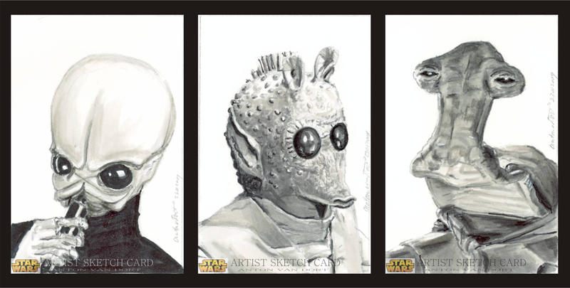 Star Wars Sketch Cards Cantina by antonvandort