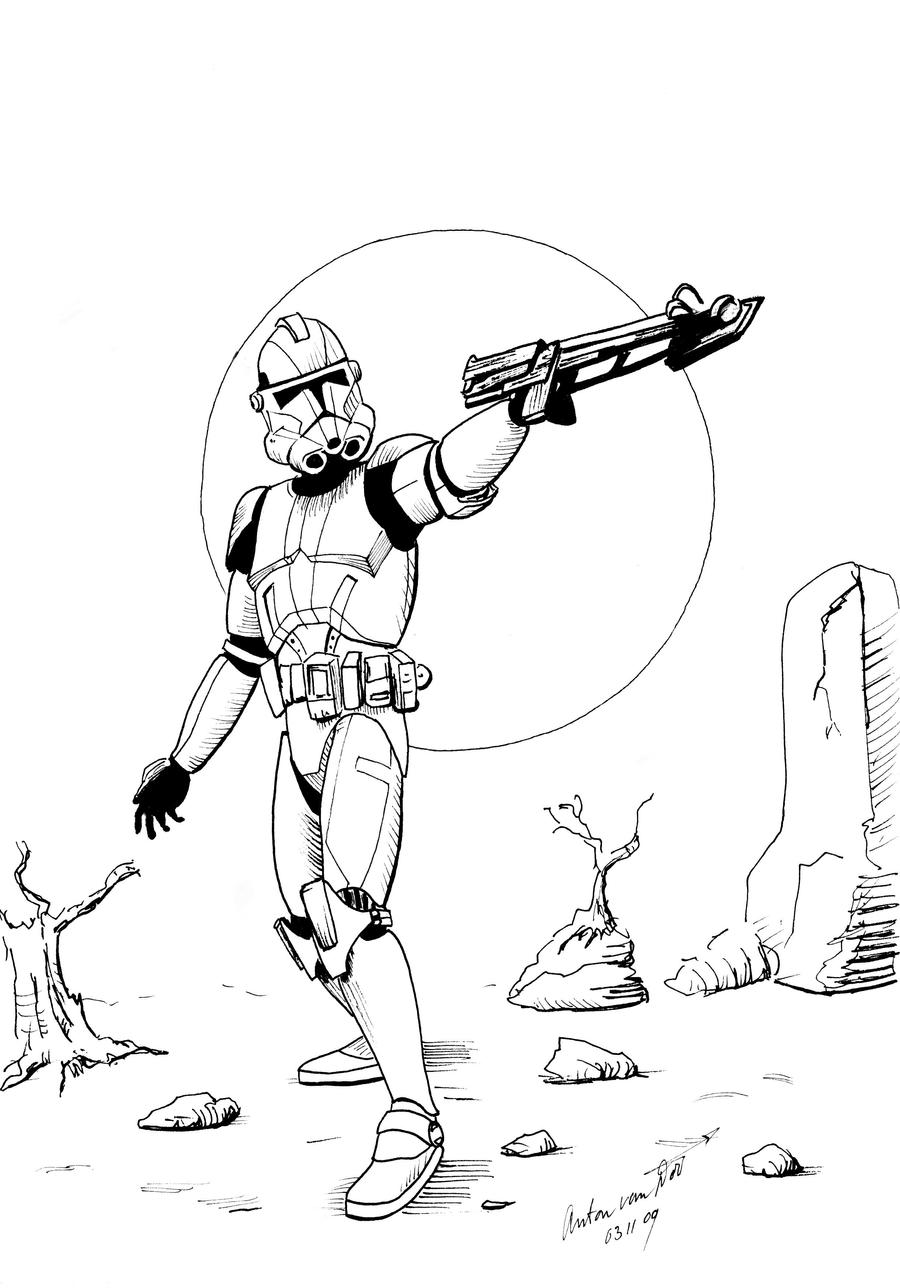 Clone Trooper: coloring page by antonvandort