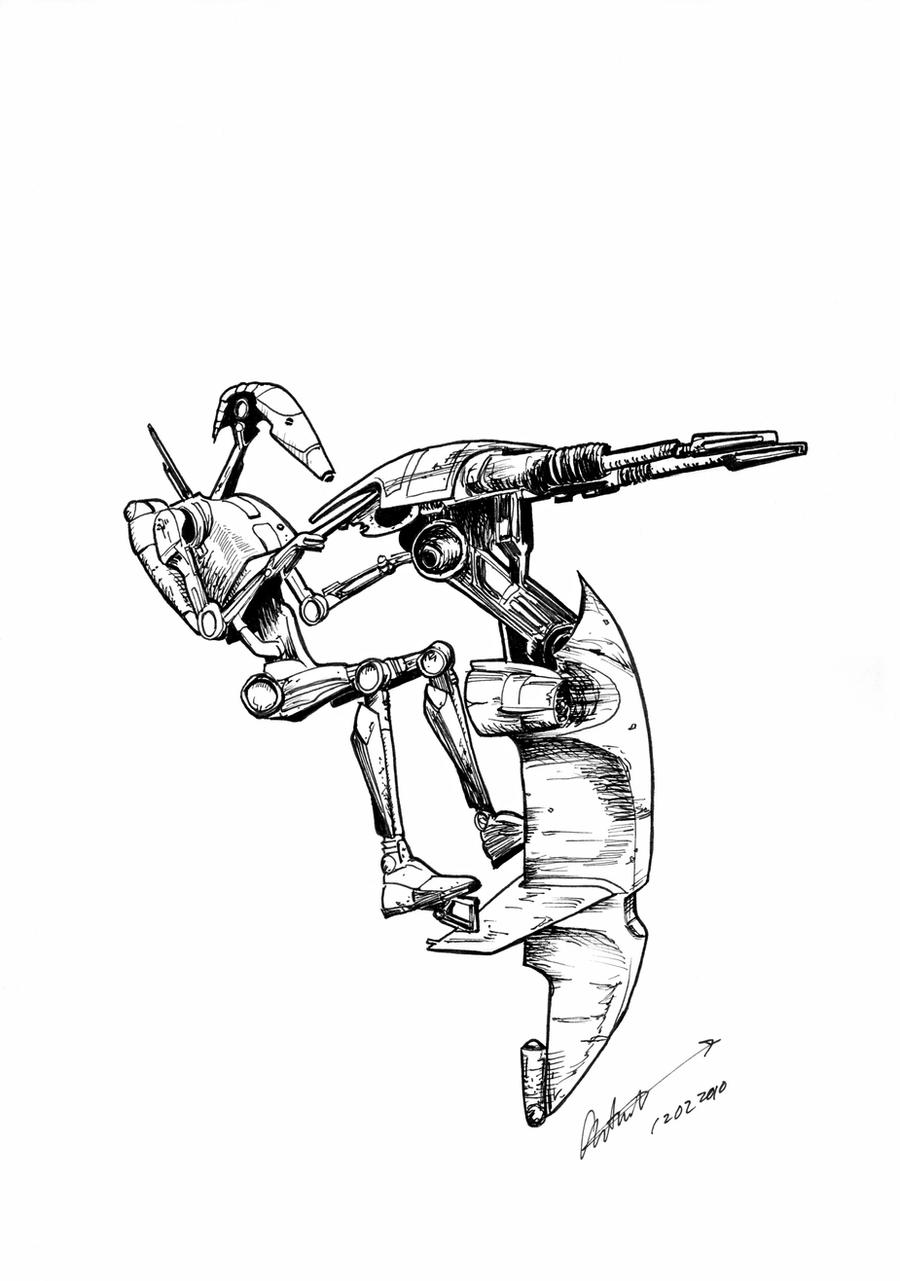 Coloring Page SW Battle Droid by