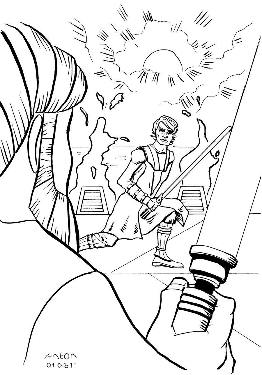 Anakin and Obi Wan on Mustafar by antonvandort on DeviantArt