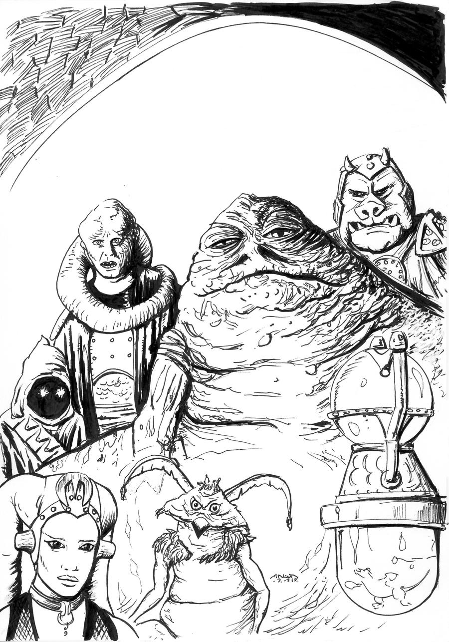 Jabba the Hutt Coloring page by antonvandort on DeviantArt