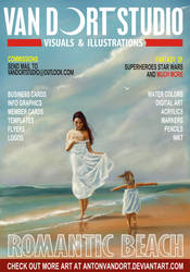 Two girls on beach magazine cover