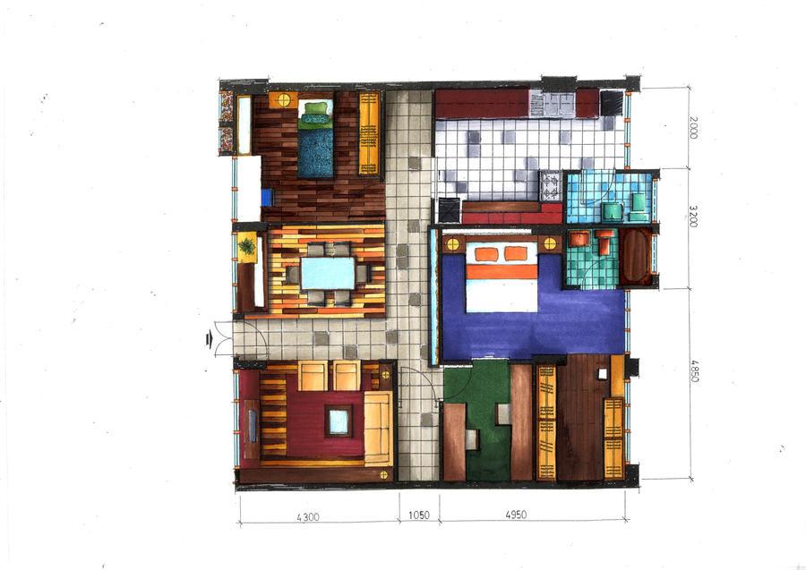 Floor plan rendering in markers by ray agustin on deviantart for Rendered floor plan