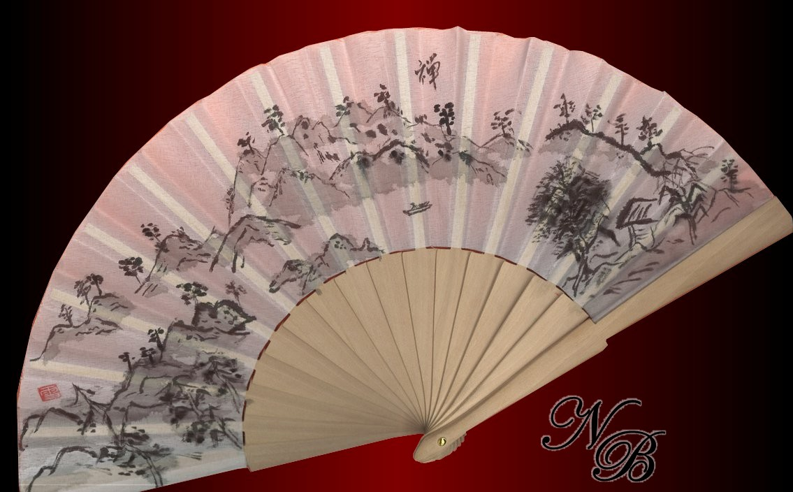 Landscape Sumi-e in fan by roundtower