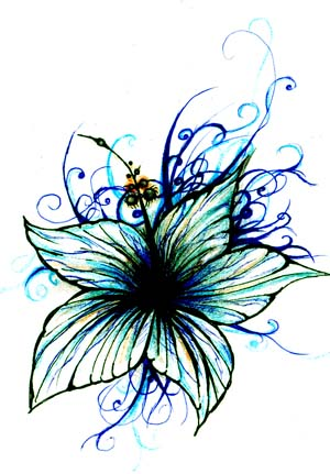 blue flower - flower tattoo