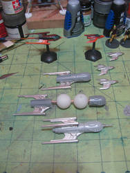 Kitbashing minis for the War Rocket game.