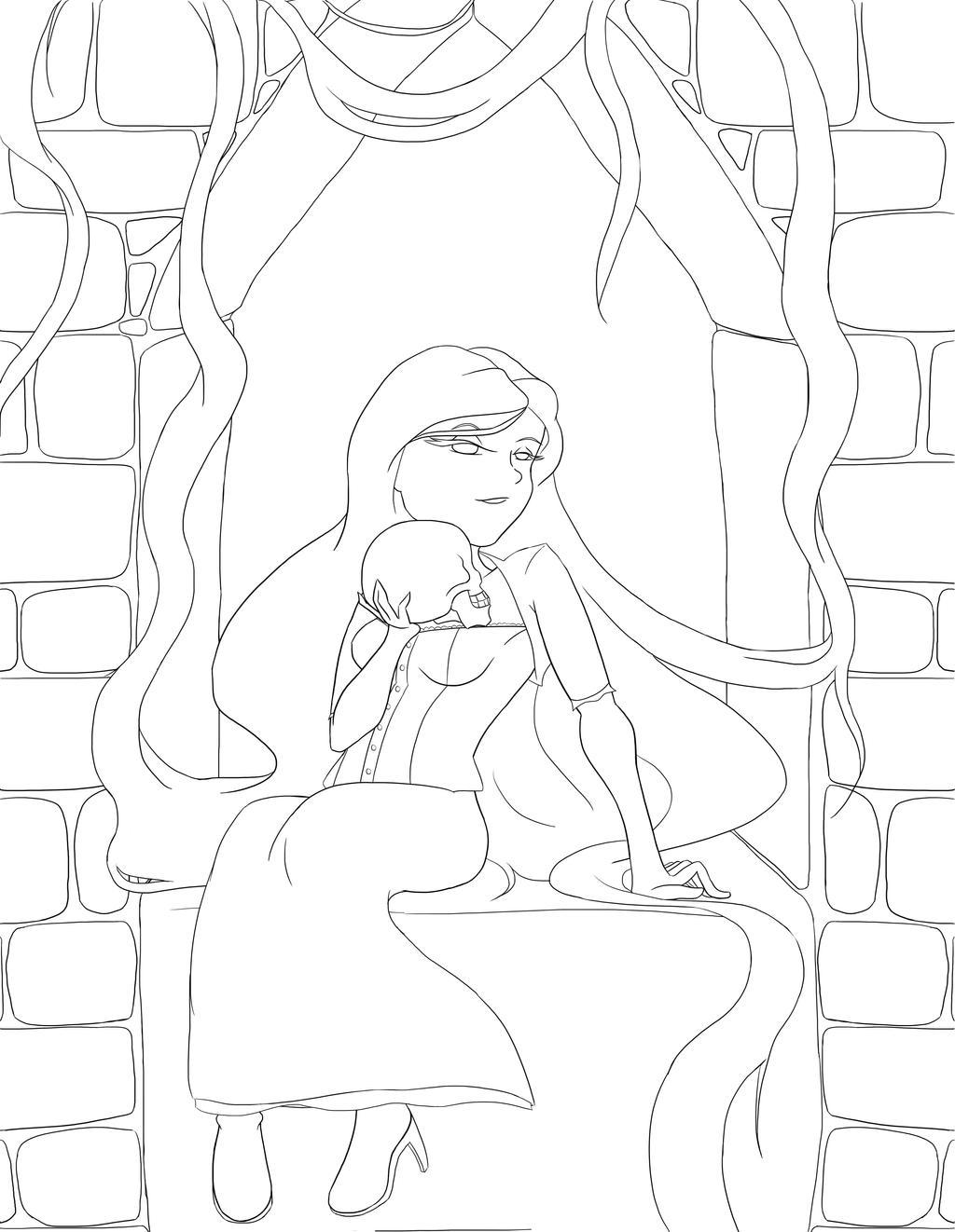 Rapunzel Lineart : Rapunzel s twisted fairytale lineart by reisespieces on