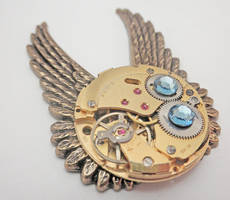 Winged Necklace with Crystals by SteamDesigns