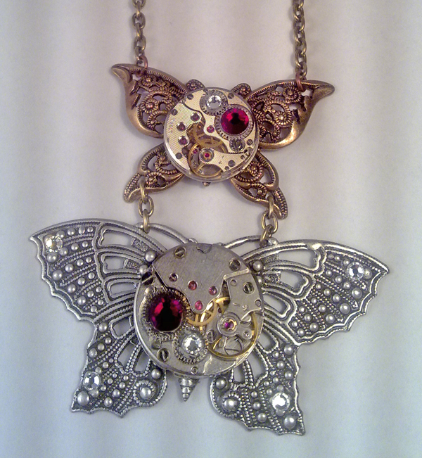 Steampunk Butterfly Necklace by SteamDesigns