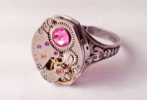 Steampunk Ring Pink Crystals by SteamDesigns