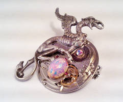 Steampunk Dragon On Egg Brooch by SteamDesigns
