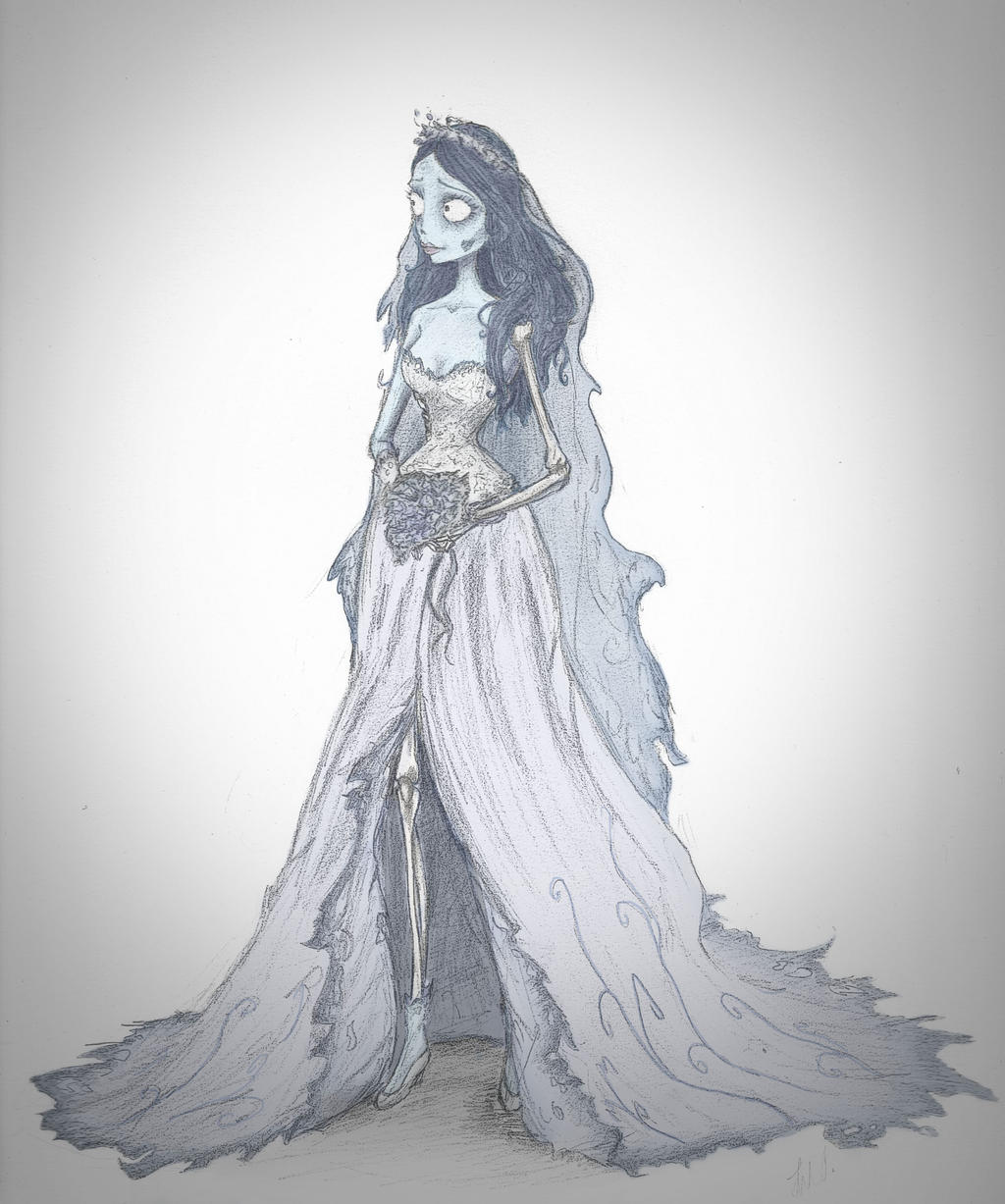 how to draw emily from corpse bride full body