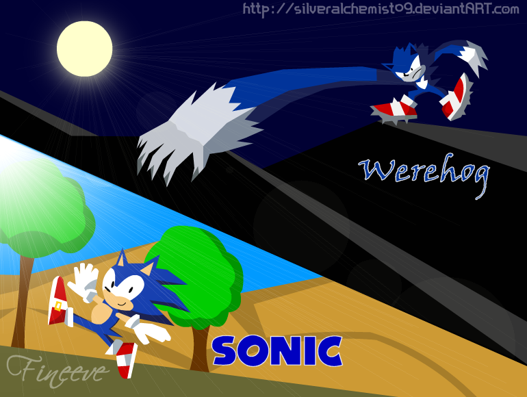 Sonic and Sonic Werehog by SilverAlchemist09