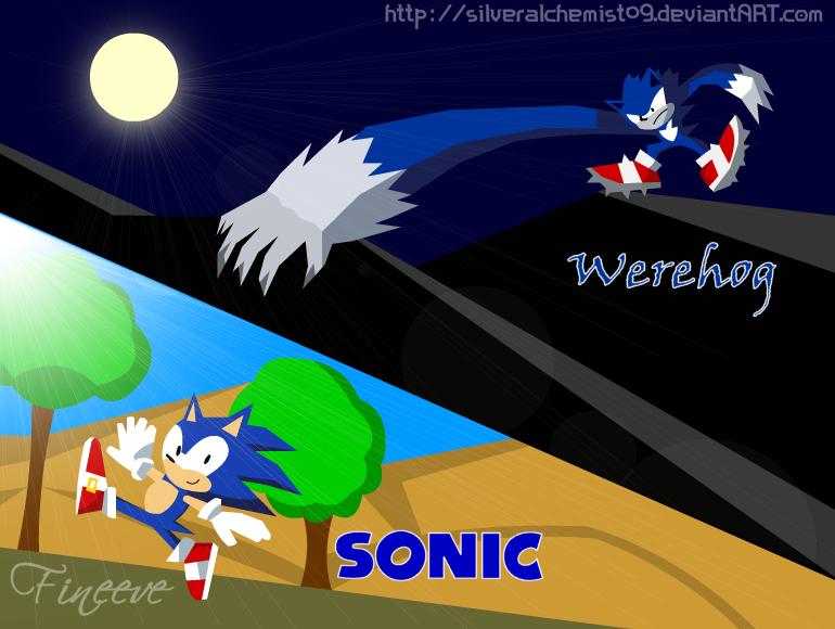 Sonic and Sonic Werehog by SilverAlchemist09