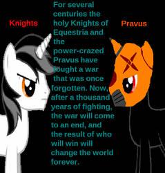 Knight vs Pravus/ The Legend of Apollo Summ. by ChronicleKing