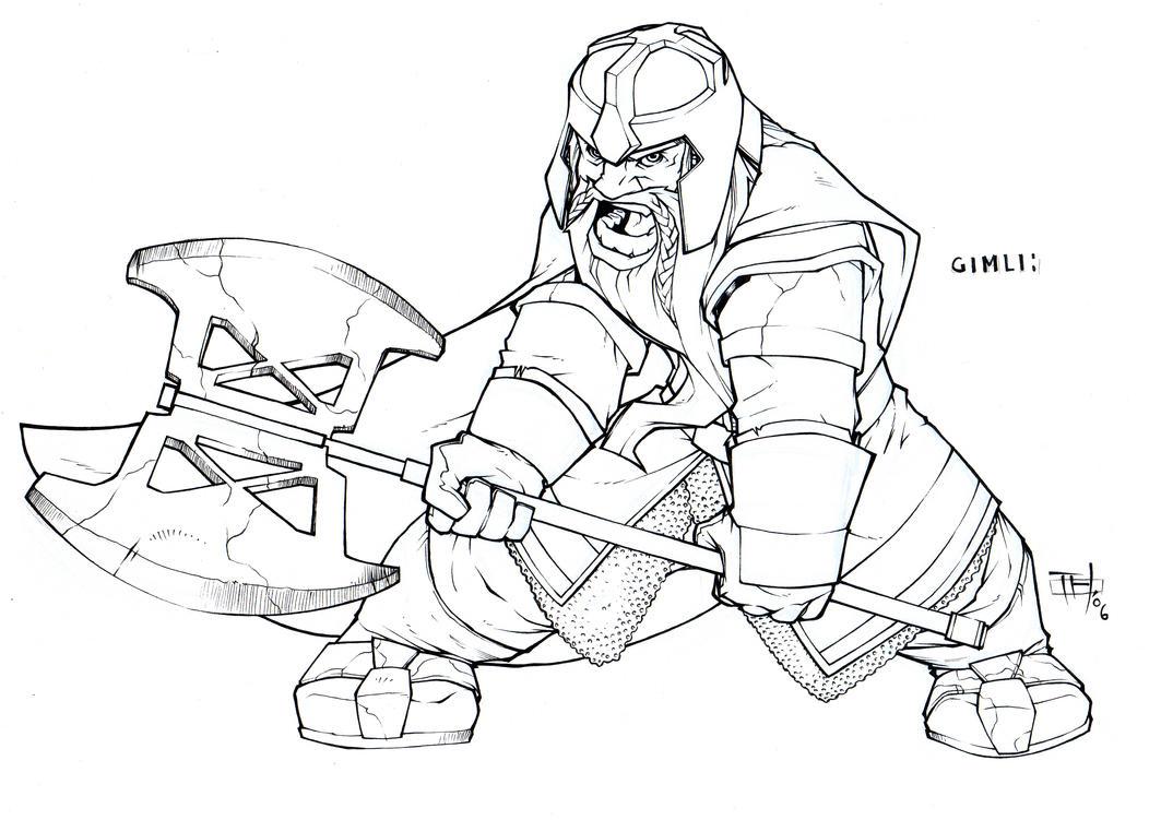 Line Art Resolution : Gimli high res by superundiesman on deviantart