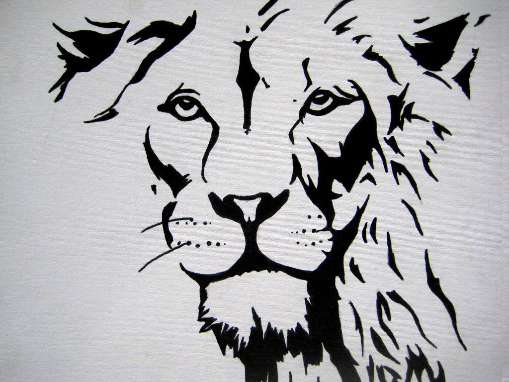 lion face ink by uncorrupted on deviantart
