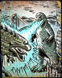 Godzilla (Japan) VS Godzilla (USA 2014) by sonburnt777