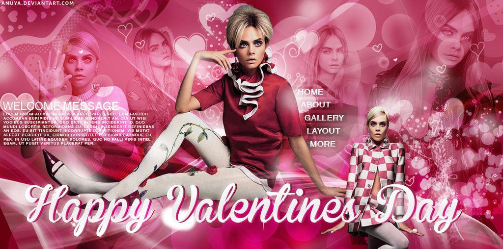 Free Valentines Day PSD Header Cara Delevingne