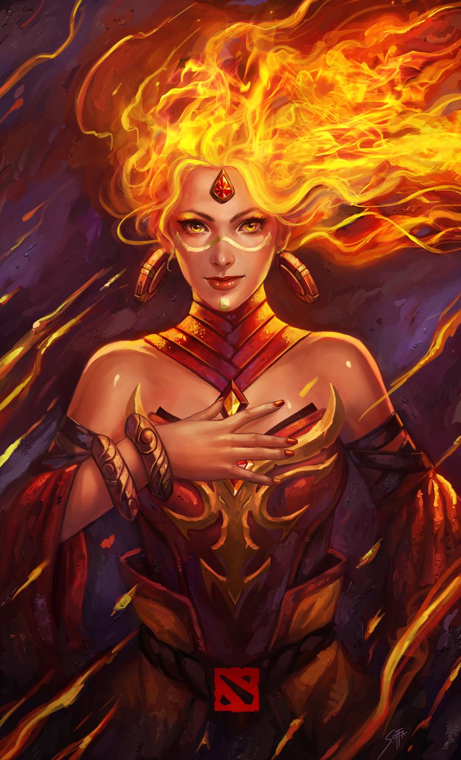 lina painting views fire fantasy fan art dota ace combat HD wallpaper