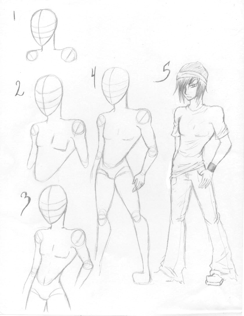 How to draw Male bodies by KT-Zombie