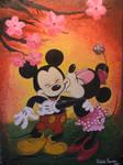 Minnie kisses Mickey