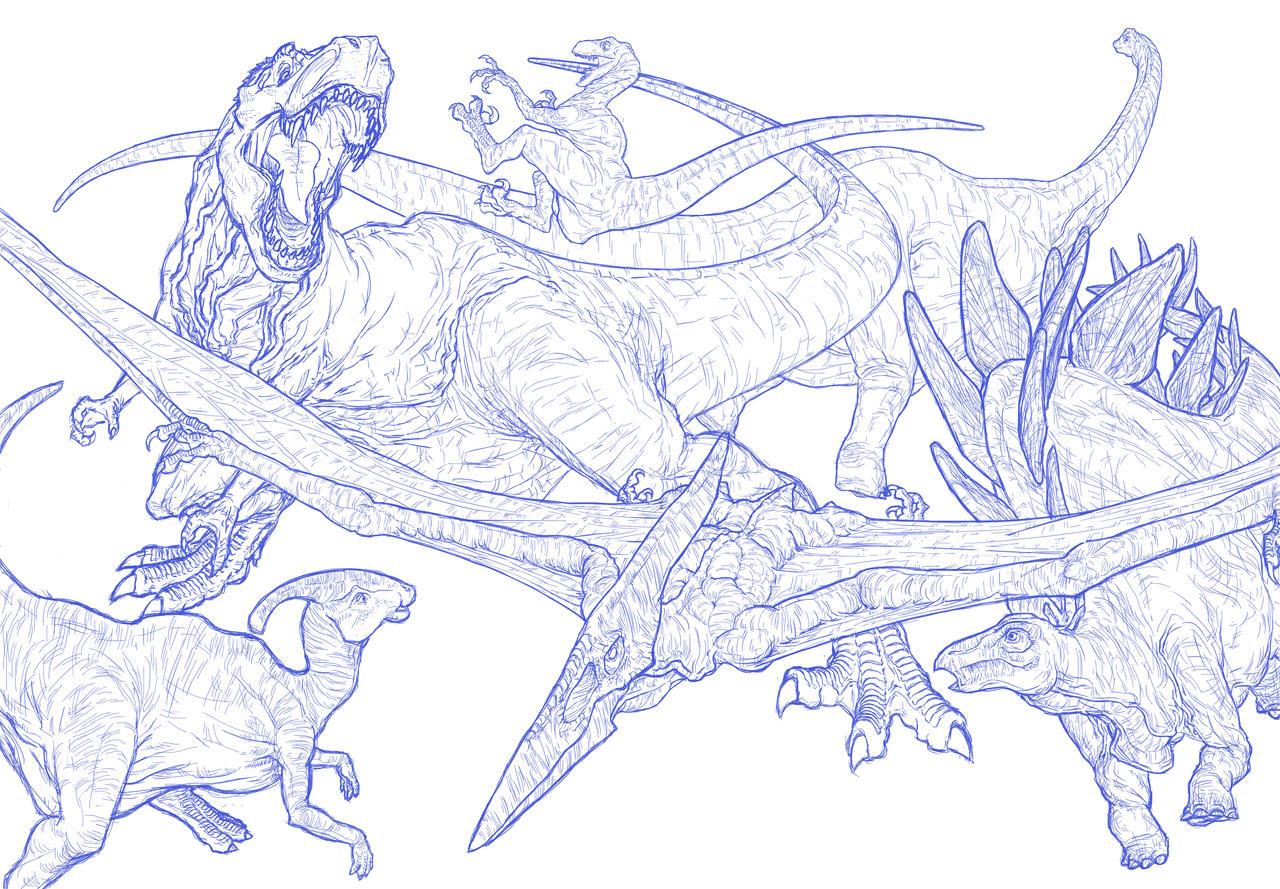 Line Art Dinosaur : Dinosaur lines by toppera tpr on deviantart