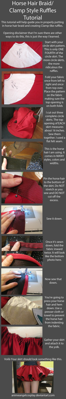 Tutorial-Putting in Horse Hair Braid/CLAMP Ruffles by RuffleButtCosplay