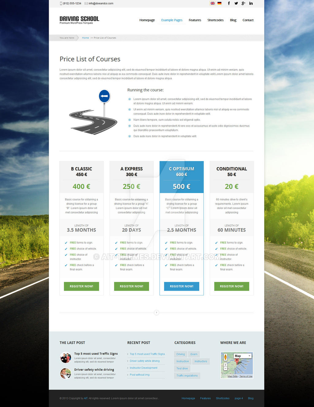 WP theme: Driving School with Pricing tables by ait-themes