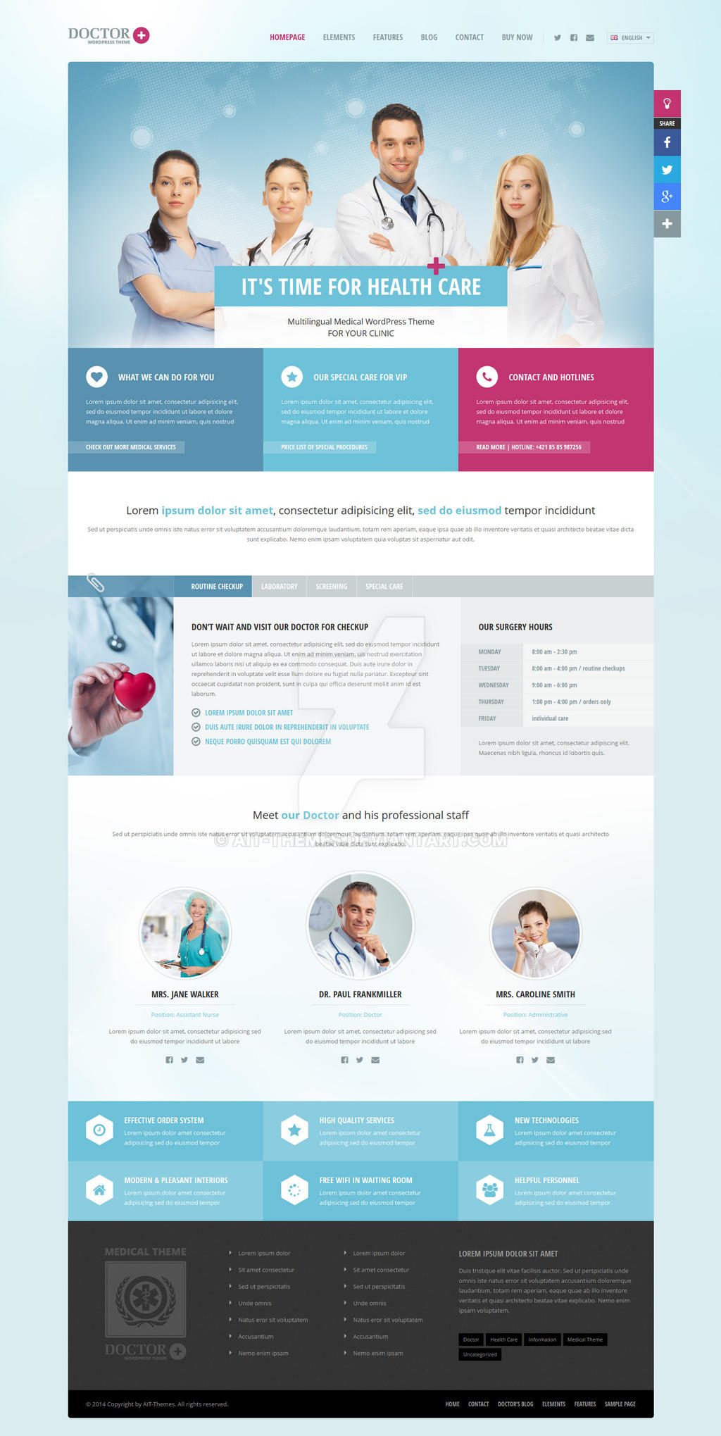 Doctor+ medical responsive WordPress theme by ait-themes