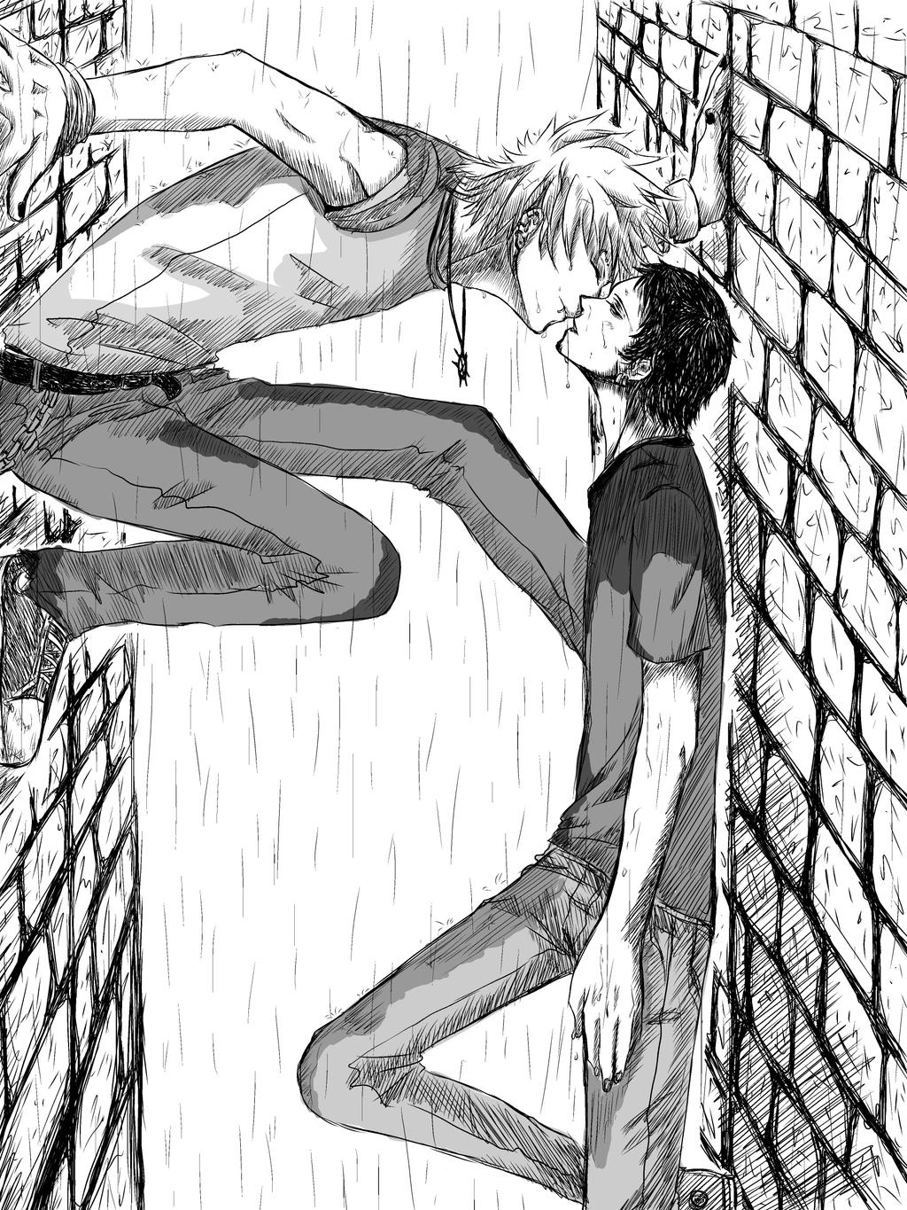 Kiss in the rain : KiddLaw by Beccilein on deviantART