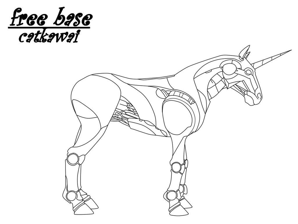 Deviantarts Robot Horse: Horse Base2 (robot Unicorn) By Catkawai On DeviantArt