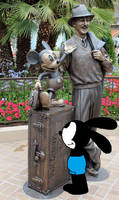 Oswald sees Walt Disney and Mickey statue at DCA by Mega-Shonen-One-64