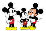 Three incarnations of Mickey meeting each other