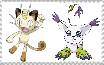 Meowth and Gatomon Stamp by MarcosPower1996
