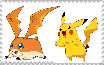 Pikachu and Patamon Stamp by MarcosPower1996
