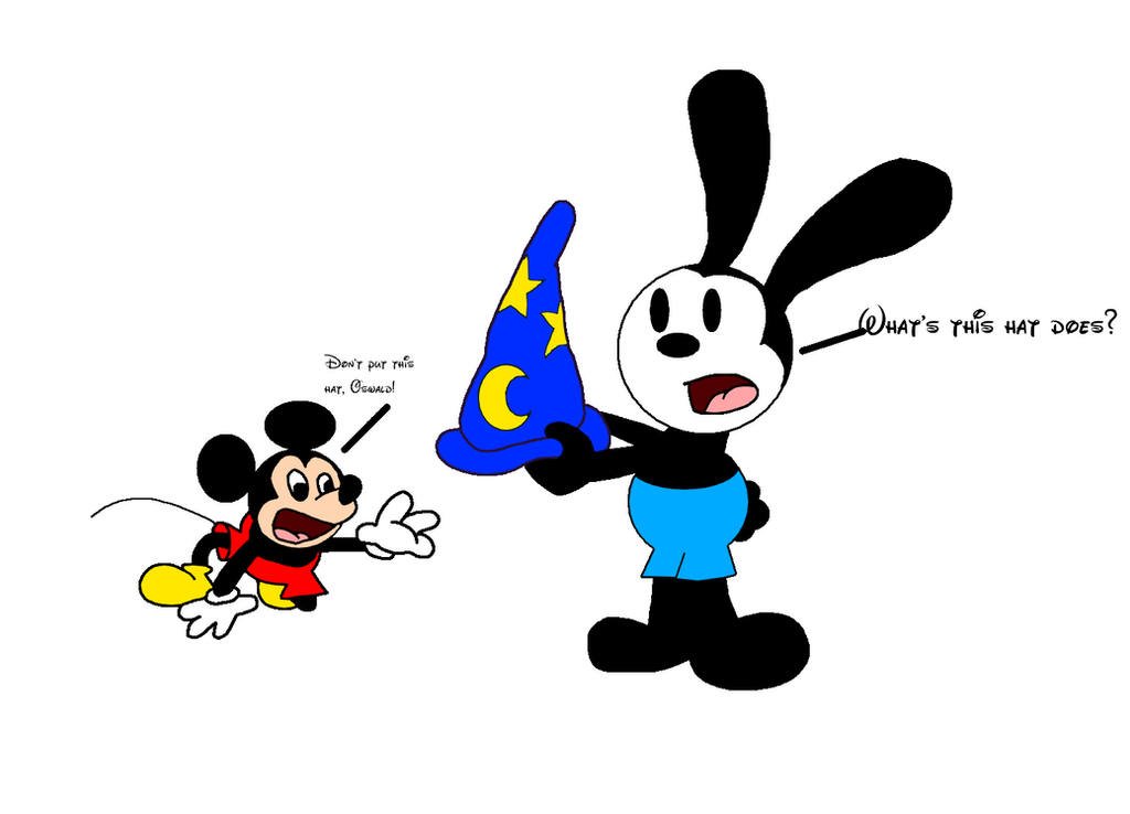 Mickey tells to Oswald to not wear Yen Sid's hat by SuperMarcosLucky96